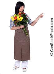kwiaciarka, aparat fotograficzny, od, spoinowanie