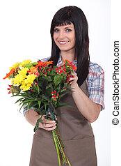 kwiaciarka, brunetka, młody