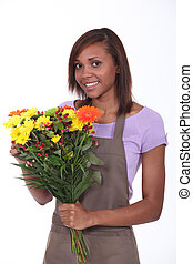 kwiaciarka, bukiet, młody