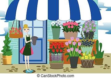 kwiaciarka, różny, kwiaty, pracujący, grono