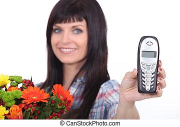 kwiaciarka, ruchomy, samica, dzierżawa telefon