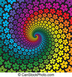 kwiat, barwny, spirala, tło