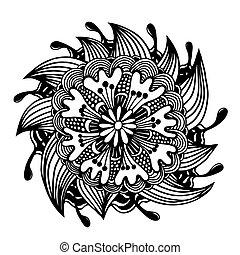 kwiat, czarnoskóry, szkic