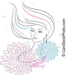 kwiat, kobieta, piękny