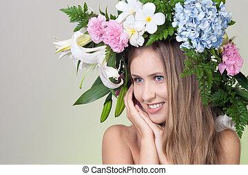 kwiat, kobieta, wieniec, piękny