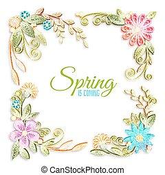 kwiat, kolor, technika, Wektor, gałąź,  quilling