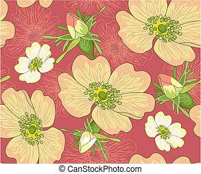 kwiat, komplet, seamless, tło