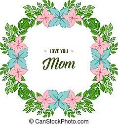 kwiat, miłość, barwny, ułożyć, ilustracja, wektor, mamusia, ozdobny, ty