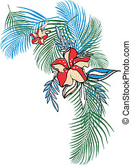 kwiat, odzież, tropikalny