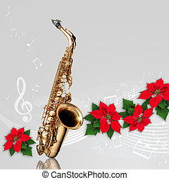 kwiat, ozdoba, poinsettia, saksofon, boże narodzenie, czerwony