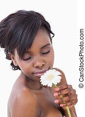 kwiat, pachnący, kobieta, zamknięte wejrzenie