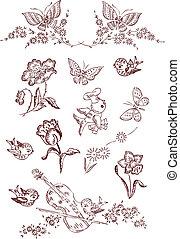 kwiat, ptak, motyl, elementy