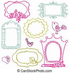 kwiat, słodki, -, wektor, doodle, układa, ptaszki, elementy