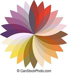 kwiat, sylwetka, kolor, ilustracja, lotos, wektor, design.