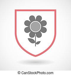 kwiat, sztuka, tarcza, odizolowany, kreska, ikona