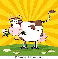 kwiat, usta, krowa