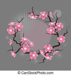 kwiat, wiśnia, flowers., stylizowany, karta