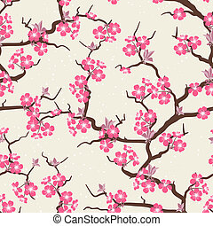 kwiat, wiśnia, kwiaty, pattern., seamless