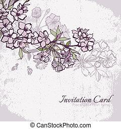 kwiat, wiśnia, zaproszenie, sakura, ślub, albo, karta
