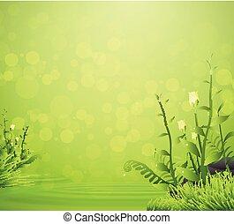 kwiat, wiosna, kropla, woda, zielone tło, trawa