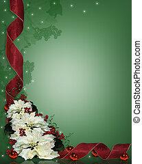 kwiat, wstążki, boże narodzenie, tło