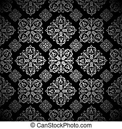 kwiatowa dachówka, tapeta, srebro