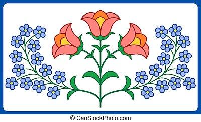 kwiatowa ozdoba, węgierski, haft