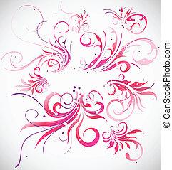 kwiatowa ozdoba, wektor, collection., abstrakcyjny, elementy, projektować