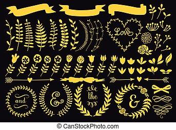 kwiatowe elementy, komplet, złoty, wektor