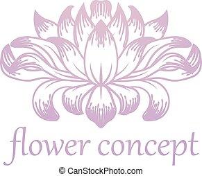 kwiatowy, abstrakcyjne pojęcie, kwiat, ikona