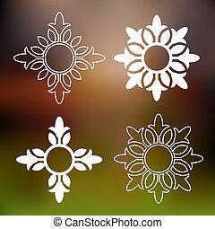 kwiatowy, abstrakcyjny, elementy, projektować