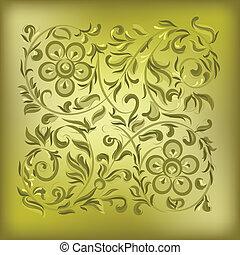 kwiatowy, abstrakcyjny, ozdoba, tło, złoty