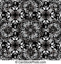 kwiatowy, abstrakcyjny, powtarzać, srebro
