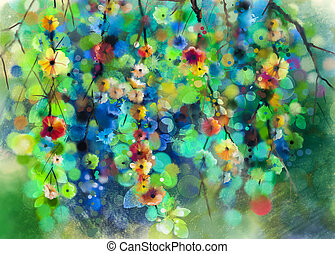 kwiatowy, akwarela, abstrakcyjne malarstwo