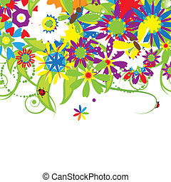 kwiatowy bukiet, ilustracja, lato