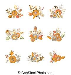 kwiatowy bukiet, wektor, ilustracja, ikona