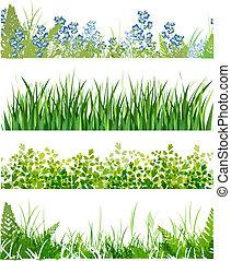 kwiatowy, chorągwie, trawa, zielony