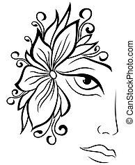 kwiatowy, część, przybory, samicza twarz