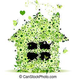 kwiatowy, dom, wektor, ilustracja, dla, twój, projektować