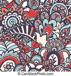 kwiatowy, doodle, print., seamless, tło.