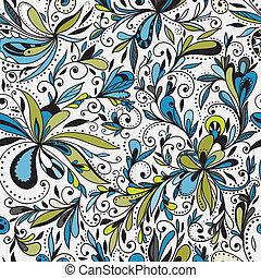 kwiatowy, doodle, seamless, tło