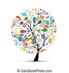kwiatowy, drzewo, dla, twój, projektować
