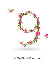 kwiatowy, dziewięć, projektować, liczba, twój