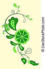 kwiatowy, eps, wektor, 10., zielony, design.