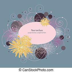 kwiatowy, frame.element, dla, design., wektor, ilustracja