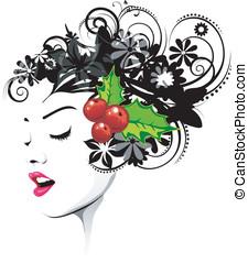 kwiatowy, fryzura, z, czerwone jagody