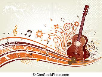 kwiatowy, gitara, czerwone tło