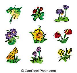 kwiatowy, ikony