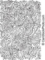 kwiatowy, kaprys, tło, doodle
