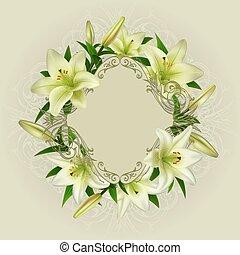 kwiatowy, karta, szablon
